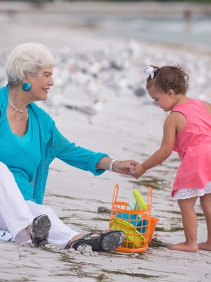 Nancy Schlossberg on the beach at Longboat Key, Fla. with her granddaughter Stevie, 2 1/2, and her daughter-in-law Michele Schlossberg. -- Mentally preparing for retirement. N
