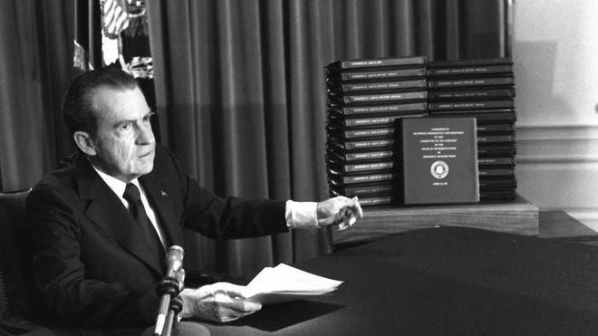 President Richard Nixon and transcripts of Watergate tapes released in 1974.