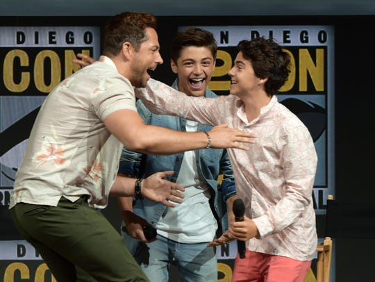 Zachary Levi, left, Asher Angel and Jack Dylan Grazer