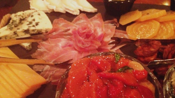 Our sharing starter included a variety of meats, cheeses and vegetables.