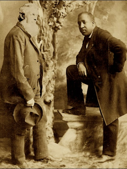 Jason Brown (left), son of abolitionist John Brown, and Rev. John H. Hector (Photo by Shadle & Busser, 20 S. George Street, York, PA; Submitted by Gussie Jones)
