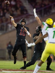 Stanford starting quarterback Keller Chryst (10) throws a pass against Oregon during the first quarter of an NCAA college football game, Saturday, Oct. 14, 2017, in Stanford, Calif. (AP Photo/D. Ross Cameron)