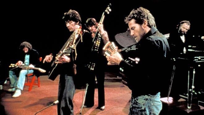 """Richard Manuel, left to right, Robbie Robertson, Rick Danko, Levon Helm and Garth Hudson in a scene from the 1978 documentary """"The Last Waltz."""""""