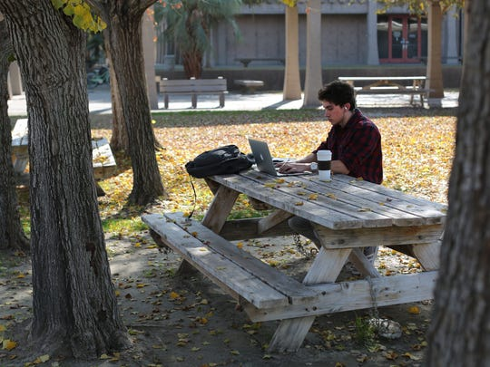 Biology major Kevin Gonzales, 19, studies for a writing class he is taking during College of the Desert's winter intersession. Photo taken at Alumni Park at College of the Desert in Palm Desert on Friday, January 9, 2015.