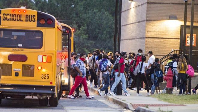 Students arrive at Hephzibah High School for the first day of classes Thursday morning September 10, 2020 in Hephzibah, Ga.