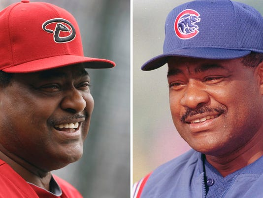 FILE - These are file photos showing Arizona Diamondbacks batting coach Don Baylor in 2013, left, and  Chicago Cubs manager Don Baylor in 2001. Don Baylor, the 1979 AL MVP with the California Angels who went on to become manager of the year with the Colorado Rockies in 1995, has died. He was 68. Baylor died Monday, Aug. 7, 2017, at a hospital in Austin, Texas, his son, Don Baylor Jr., told the Austin American-Statesman.(AP Photo/File)