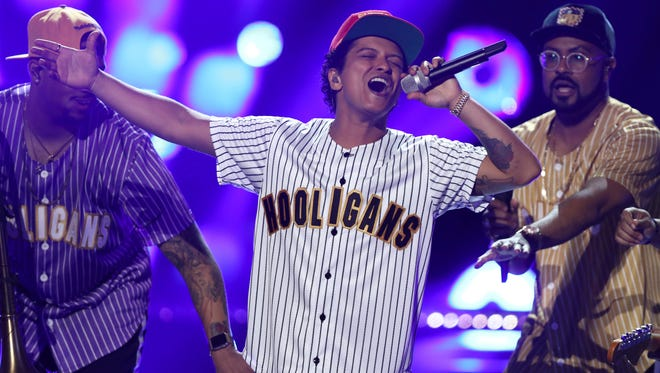 Bruno Mars performs 'Perm' at the BET Awards at the Microsoft Theater on Sunday, June 25, 2017 in Los Angeles.