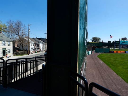The large York Revolution scoreboard and left-field