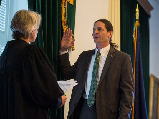David Zuckerman is sworn in as Lt. Governor by Associate Justice Beth Robinson at the Statehouse in Montpelier on Thursday, January 5, 2017