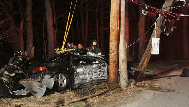Putnam Lake firefighters had to extricate the driver of a v vehicle after it crashed into a utility pole early Monday morning April 10, 2017.