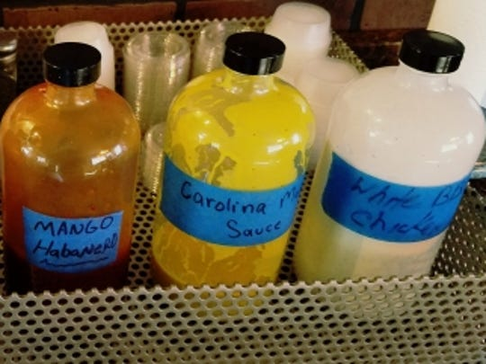 Chester White's offers several homemade barbecue sauces. The white barbecue sauce is a combination of mayonnaise spices and vinegar. Its mango habanero is a combination of heat and sweet. It also offers hot, not too hot and a Carolina mustard sauce.