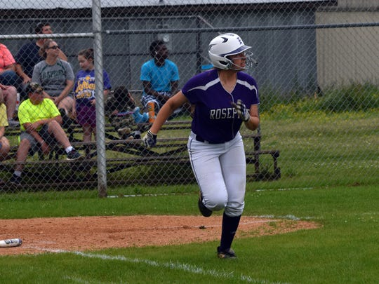Rosepine's Lauryn McMahon (3) watches the ball sail out of the park in Rosepine's game against Rapides last season.