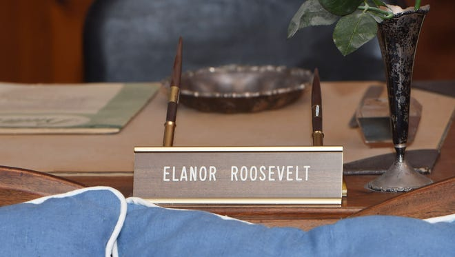 A nameplate in Eleanor Roosevelt's office at Val-Kill Cottage in Hyde Park spells her name incorrectly.
