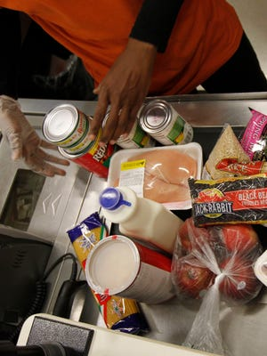 Groceries bought under the Supplemental Nutrition Assistance Program are scanned at a grocery store in Philadelphia.