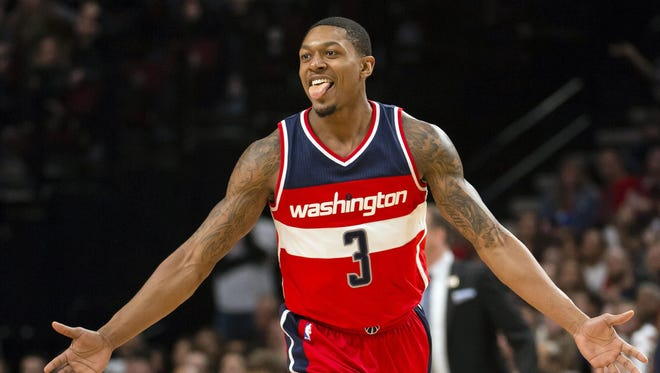 Washington Wizards guard Bradley Beal (3) reacts after scoring a three point basket in the second half in a game against the Portland Trail Blazers at the Moda Center.
