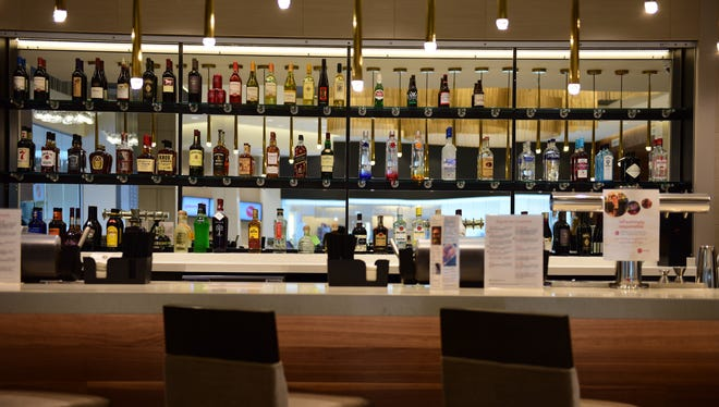 A fully stocked bar at the AMC theater opening this week at The Shops at Riverside in Hackensack.