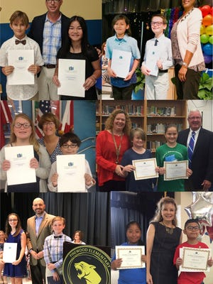 The 2018 Young Literary Leaders Award winners: Clockwise from top left – Luke Reyburn and Addison Monaco, Jensen Beach Elementary; Eva Sanchez and Charles Woodward, Seawind Elementary; Aidan Flores and Sara Kautz, Felix A. Williams Elementary; Yojana Mendoza and Luis Perez-Moreno, Warfield Elementary; Camryn Bruno and Gerald Garner, Pinewood Elementary; Alyxia Garza and Jared Baer, Port Salerno Elementary. Not pictured – Micaela Cristoforo and Zachary Rekowski, Bessey Creek Elementary; Jaime Garcia and Bryar Stoney, Citrus Grove Elementary; Emilee Ault and Jacob Tremblay, Crystal Lake Elementary; Chase Burr and Areon Dames, Hobe Sound Elementary; Lexie Laverty and Nico Rocha, J.D. Parker Elementary; Vivian McCollough and Reis Elenbass Smith, Palm City Elementary.