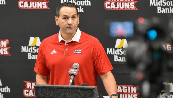 UL offensive coordinator Jorge Munoz speaks to media members Wednesday.