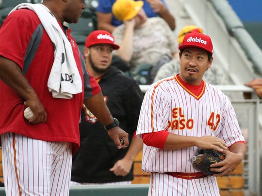 El Paso Chihuahuas pitcher Kazuhisa Makita of Japan in the bullpen at the start of their game with the New Orleans Baby Cakes on Aug. 1 at Southwest University Park. The Chihuahuas wore retro El Paso Diablos uniforms.