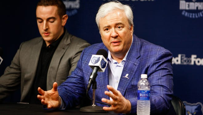 Grizzlies general manager Chris Wallace was retained because he is straightforward with lots of integrity, owner Robert Pera (left) said.