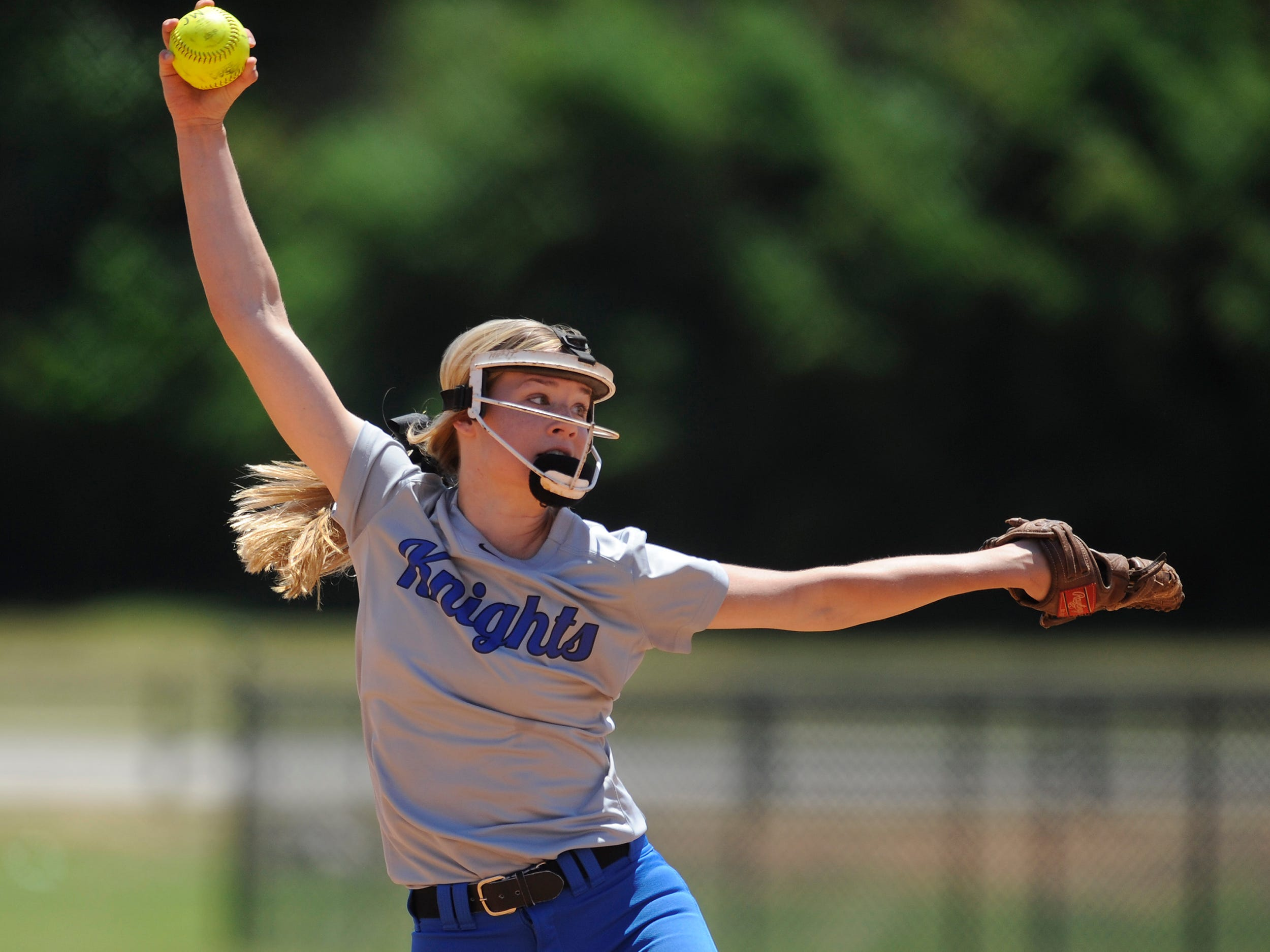 Catholic pitcher Michaelyn Foster throws against St. James at Lagoon Park in Montgomery on April 30.