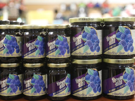 Jars of Oregon Hill seedless Marionberry jam at the