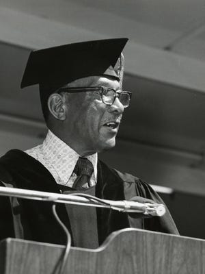 Jesse Owens speaks at the University of Nevada's 1972 summer commencement ceremony.
