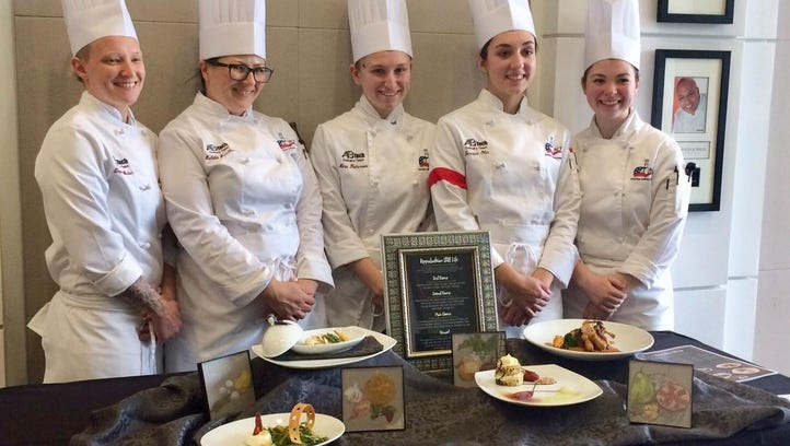 A-B Tech's Student Culinary Team with their winning plates at the American Culinary Federation's Southeast Regional Competition. Members of the team are, from left, Emma Wieber, Habiba Smallen, Nina Patterson, Jessica Olin and Emily Welch.
