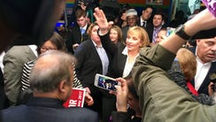 Lt. Gov. Kim Guadagno greets supporters after launching