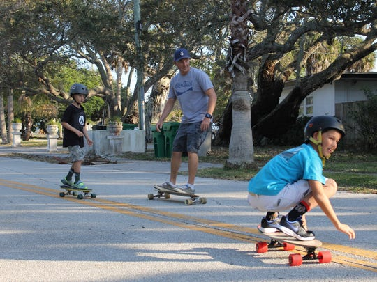 Jon Williams and his sons, Chase and Zak, regularly skate together near their home and at the Cocoa Beach Skate Park.