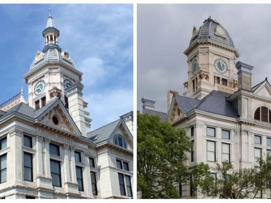 Before and after photos show the Marshall County Courthouse, which was damaged by strong stormed the ripped through central Iowa on Thursday afternoon, July 19. 2018.