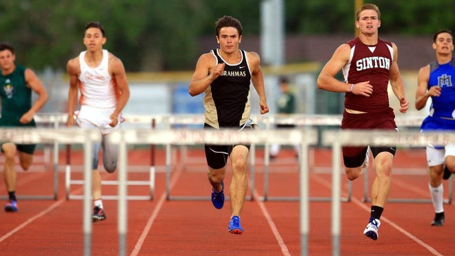 GABE HERNANDEZ/CALLER-TIMES Kingsville's David Garza runs in the boys 300-meter hurdles during the District 31-4A track meet running finals Thursday, April 14, 2016, at Pirate Stadium in Sinton.