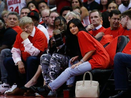 Travis Scott and Kylie Jenner sat courtside together
