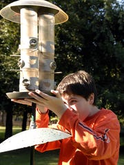 A young man changed the seed in the bird feeder in his back yard in Crestwood in 2009.