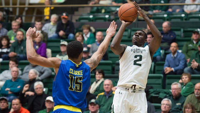 CSU forward Emmanuel Omogbo shoots over San Jose State's Brandon Clarke during a Jan. 25 game at Moby Arena in Fort Collins. Omogbo had 15 points and 14 rebounds Wednesday in the opening game of the Portsmouth Invitational, a showcase event in Virginia for NBA and other pro prospects.