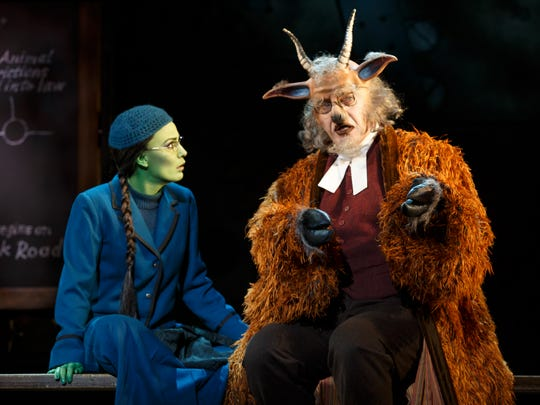 "Alyssa Fox as Elphaba and Chad Jennings as Doctor Dillamond in the national tour of ""Wicked."""