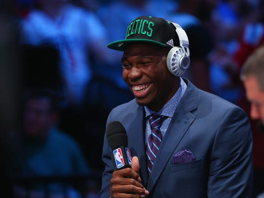NEW YORK, NY - JUNE 23: Guerschon Yabusele smiles during his interview after being drafted 16th overall by the Boston Celtics in the first round of the 2016 NBA Draft at the Barclays Center on June 23, 2016 in the Brooklyn borough of New York City. NOTE TO USER: User expressly acknowledges and agrees that, by downloading and or using this photograph, User is consenting to the terms and conditions of the Getty Images License Agreement. (Photo by Mike Stobe/Getty Images) ORG XMIT: 641326351 ORIG FILE ID: 542657522