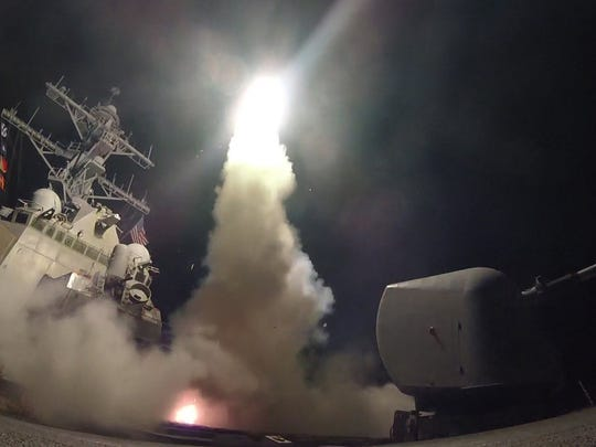 A tomahawk missile is launched across the Mediterranean