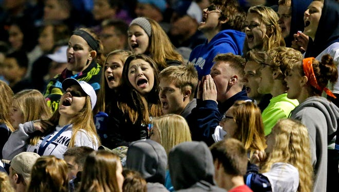 Little Chute fans cheer as the Mustangs take on Freedom in a WIAA D4 level 3 football playoff game at Little Chute High School Nov. 4, 2016, in Little Chute.