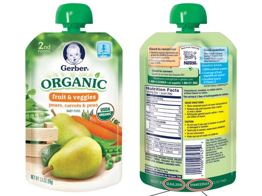 The recall impacts only Gerber Organic 2nd Food Pouches in pears, carrots and peas or carrots, apples and mangoes flavors. The UPC codes for each recalled pouch are 15000074319 and 15000074395.