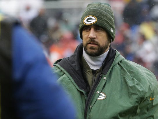 Injured Green Bay Packers quarterback Aaron Rodgers