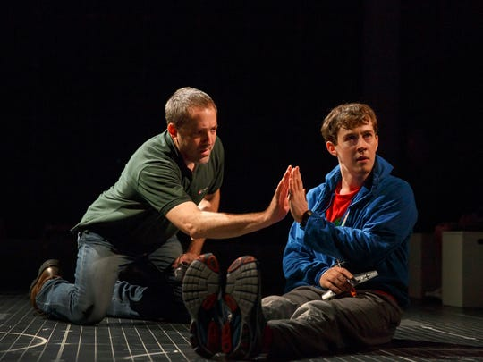 Ian Barford and left, Alex Sharp perform in the The Curious Incident of the Dog in the Night-Time