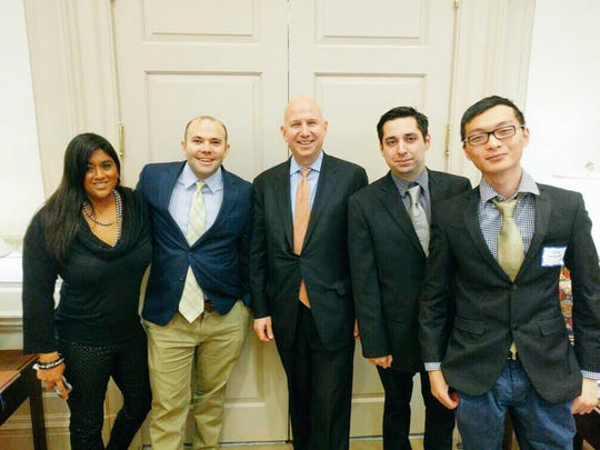 Co-founders of the Austin-based tech startup Counsl met with Gov. Jack Markell last week. Pictured are (from left) Mona Parikh of the coIN Loft, CEO JC Glancy, Markell, CTO Rafael Lopez and programmer Van Phu.