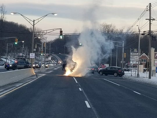 Eastbound Route 10 was closed at 8 a.m. for a downed power line and transformer fire. All but one lane of westbound Route 10 was closed as well. Jan. 19, 2018.
