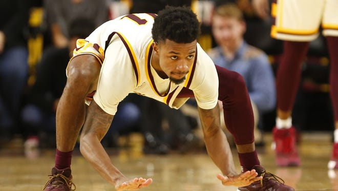 Arizona State guard Shannon Evans II (11) slaps the ground during the second half against Washington at Wells Fargo Arena in Tempe, Ariz. January 25, 2017.