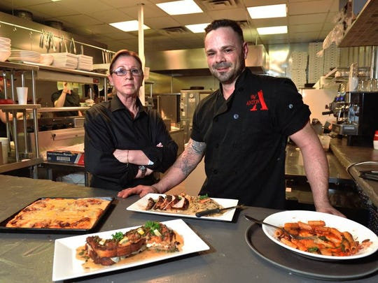 Axton's of Pompton Lakes owner Anton Testino with mother Francesca; Donna's Famous Sicilian pizza.