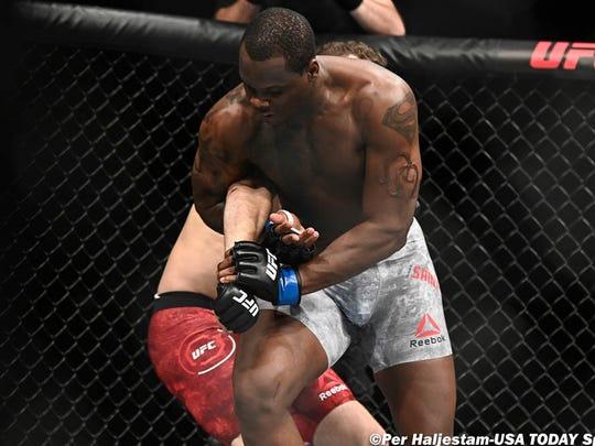 Sep 28, 2019; Copenhagen, DEN; Michal Oleksiejczuk (red gloves) fights Ovince Saint Preux (blue gloves) during UFC Fight Night at Royal Arena. Mandatory Credit: Per Haljestam-USA TODAY Sports