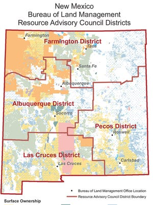 Resource Advisory Council Districts map.
