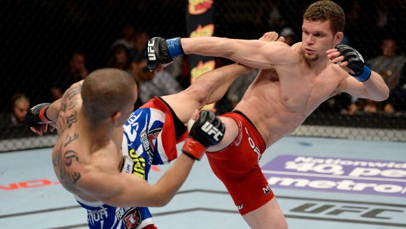 Dustin Ortiz, right, has been added to the UFC Fight Night card at Bridgestone Arena.