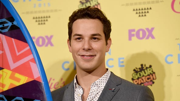 Skyler Astin poses in the press room during the Teen Choice Awards 2015 at the USC Galen Center on August 16, 2015 in Los Angeles, California.